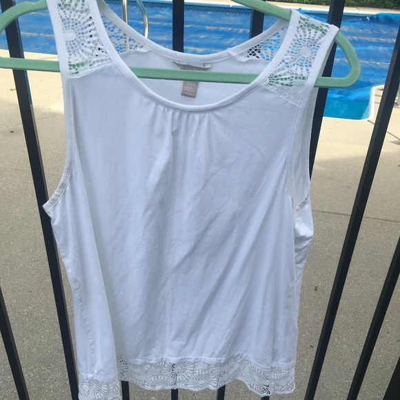 Banana Republic Tops - White Tank with Lace Detail